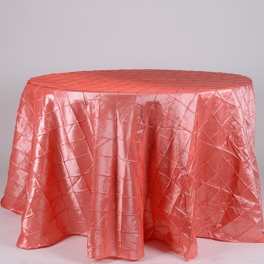 Coral 120 Inch Round Pintuck Satin Tablecloth