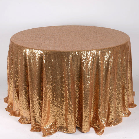 Gold 120 inch Round Duchess Sequin Tablecloth- Ribbons Cheap
