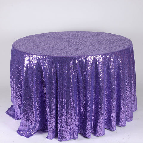 Purple 120 inch Round Duchess Sequin Tablecloth- Ribbons Cheap