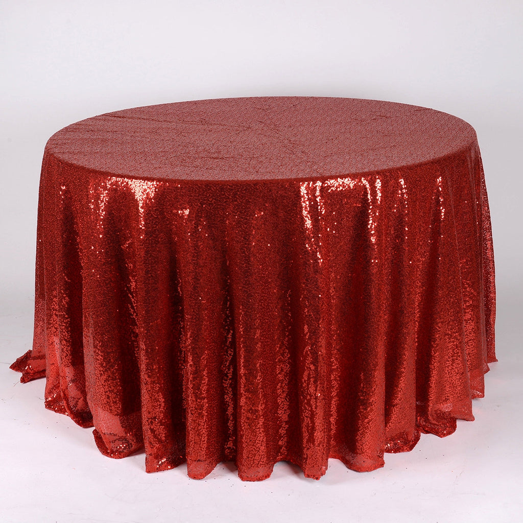 Red 120 inch Round Duchess Sequin Tablecloth- Ribbons Cheap