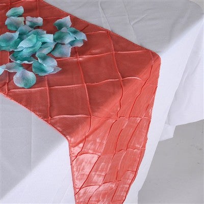 Coral 12 inch x 108 inch Pintuck Satin Table Runner- Ribbons Cheap