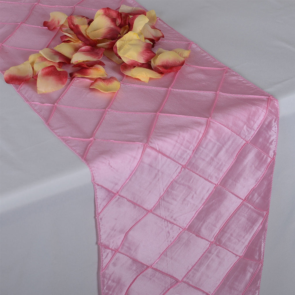 Pink  12 inch x 108 inch Pintuck Satin Table Runner- Ribbons Cheap