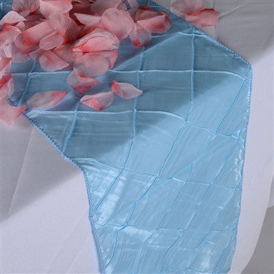 Light Blue 12 inch x 108 inch Pintuck Satin Table Runner- Ribbons Cheap