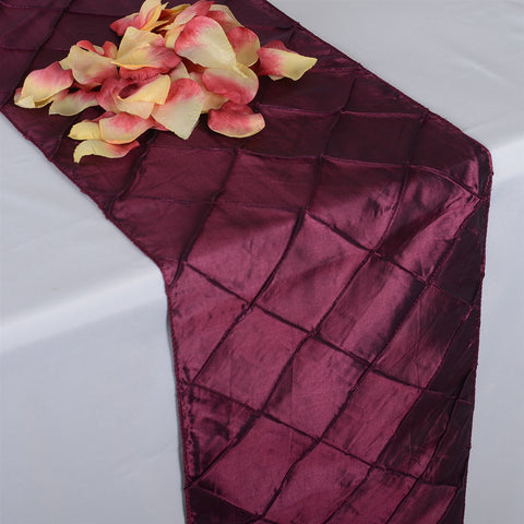 Burgundy  12 inch x 108 inch Pintuck Satin Table Runner- Ribbons Cheap