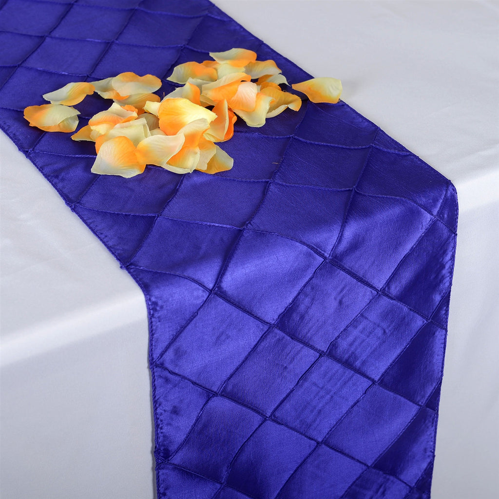 Purple  12 inch x 108 inch Pintuck Satin Table Runner- Ribbons Cheap