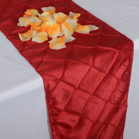 Red  12 inch x 108 inch Pintuck Satin Table Runner- Ribbons Cheap