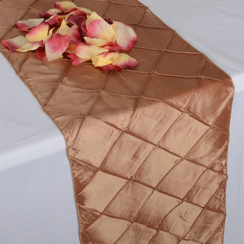 Gold  12 inch x 108 inch Pintuck Satin Table Runner- Ribbons Cheap