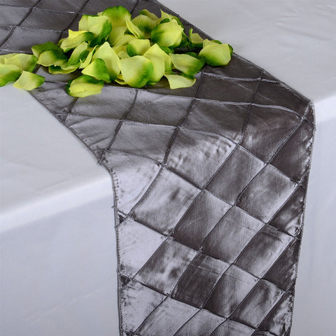 Silver  12 inch x 108 inch Pintuck Satin Table Runner- Ribbons Cheap