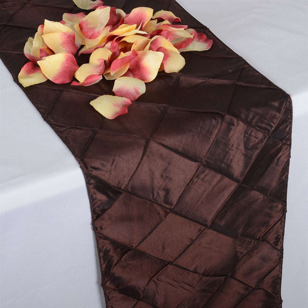 Chocolate Brown  12 inch x 108 inch Pintuck Satin Table Runner- Ribbons Cheap