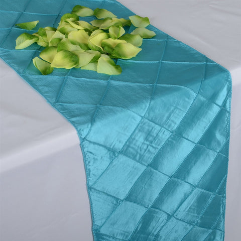 Turquoise 12 inch x 108 inch Pintuck Satin Table Runner- Ribbons Cheap