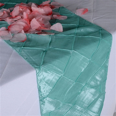 aqua blue pintuck satin 12 inch x 108 inch table runner