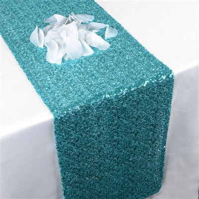Turquoise Duchess Sequin Table Runner- Ribbons Cheap