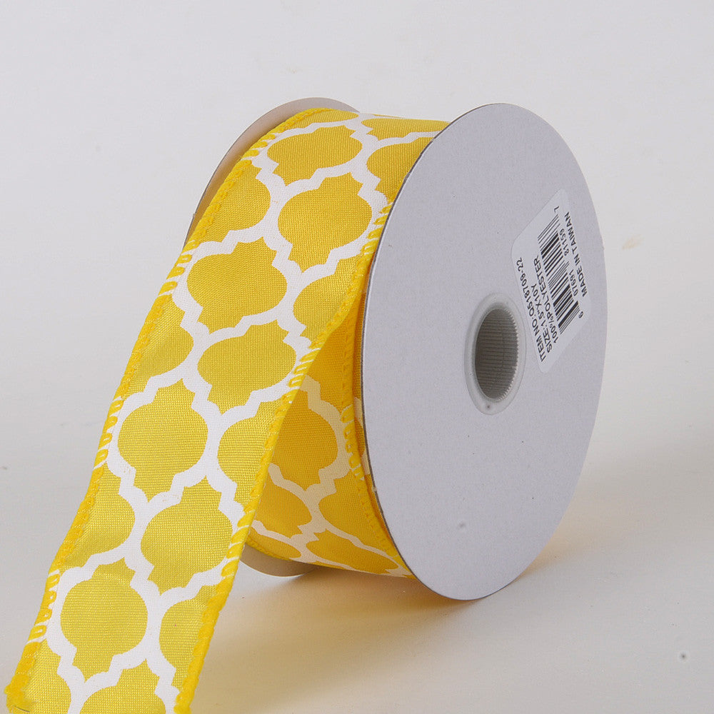 Satin Ribbon Large Quatrefoil Print Daffodil ( W: 1-1/2 inch | L: 10 Yards ) -