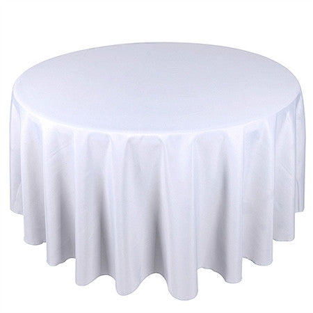 White 132 Inch Premium Round Polyester Tablecloths- Ribbons Cheap