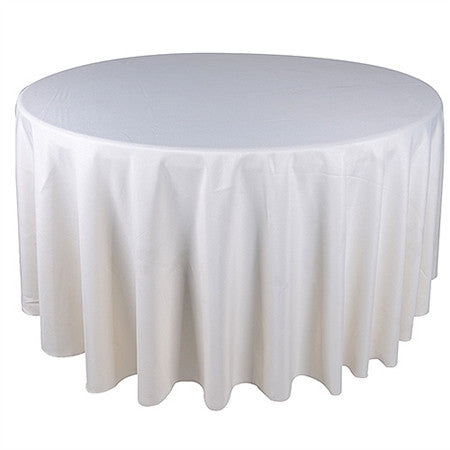 Ivory 132 Inch Premium Round Polyester Tablecloths- Ribbons Cheap
