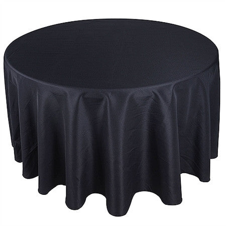 Black 132 Inch Premium Round Polyester Tablecloths- Ribbons Cheap