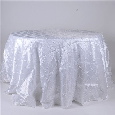 White  132 inch Round Pintuck Satin Tablecloth- Ribbons Cheap