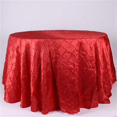 Red  132 inch Round Pintuck Satin Tablecloth- Ribbons Cheap