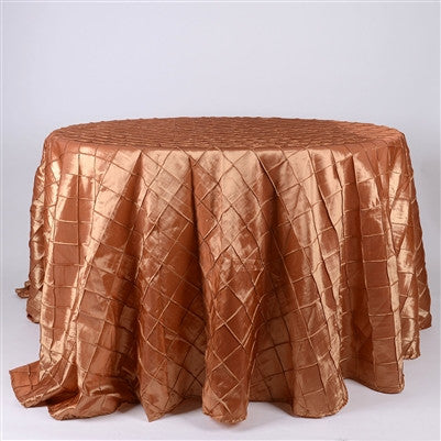 Gold  132 inch Round Pintuck Satin Tablecloth- Ribbons Cheap