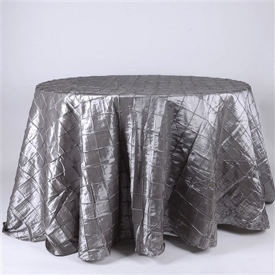 Silver  132 inch Round Pintuck Satin Tablecloth- Ribbons Cheap