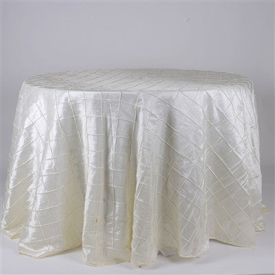 Ivory  132 inch Round Pintuck Satin Tablecloth- Ribbons Cheap