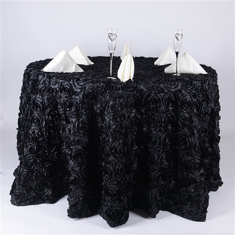 Black 132 Inch Rosette Tablecloths- Ribbons Cheap