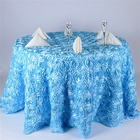 Light Blue 132 Inch Rosette Tablecloths- Ribbons Cheap