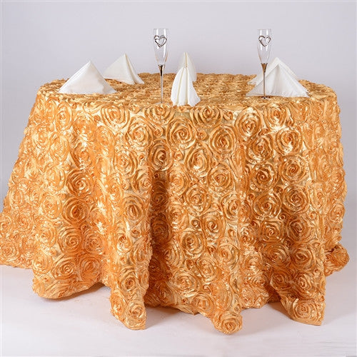 Gold 132 Inch Rosette Tablecloths- Ribbons Cheap