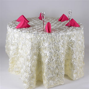 Ivory 132 Inch Rosette Tablecloths- Ribbons Cheap
