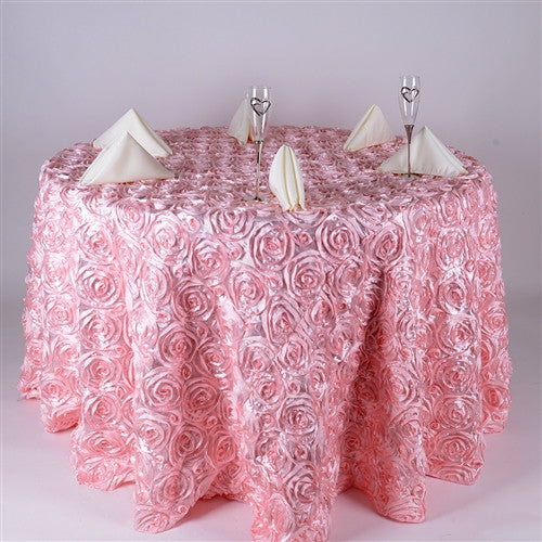 Pink 132 Inch Rosette Round Tablecloths