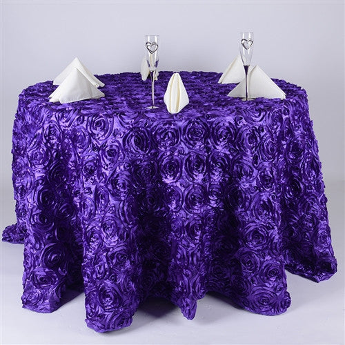 Purple 132 Inch Rosette Tablecloths- Ribbons Cheap