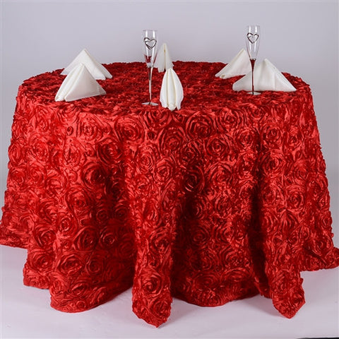 Red 132 Inch Rosette Tablecloths- Ribbons Cheap