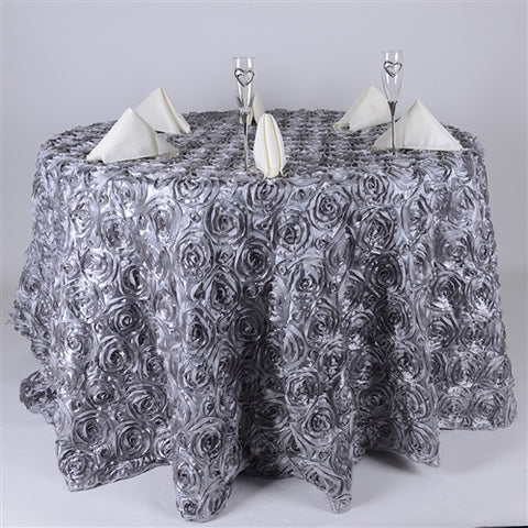 Silver 132 Inch Rosette Tablecloths- Ribbons Cheap