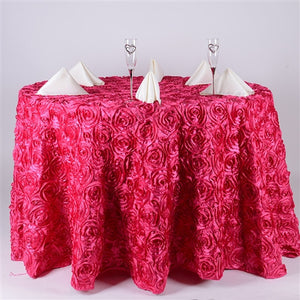 Fuchsia 132 Inch Rosette Tablecloths- Ribbons Cheap