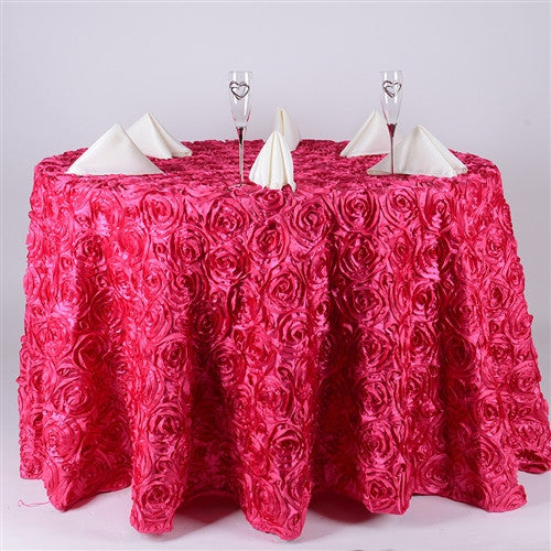 Fuchsia 132 Inch Rosette Round Tablecloths
