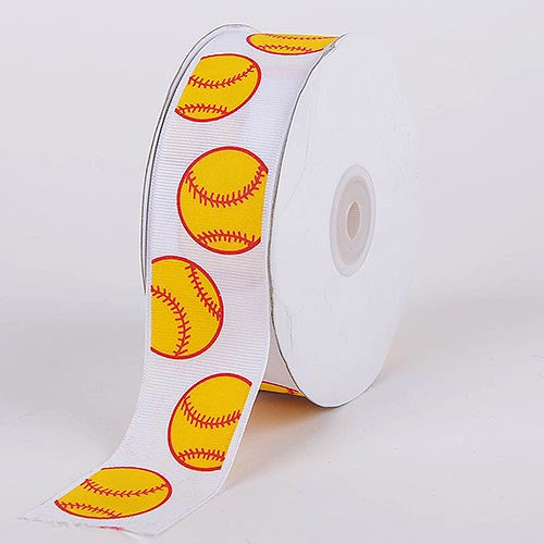 Grosgrain Ribbon Sports Design Yellow Baseball ( W: 3/8 inch | L: 25 Yards )