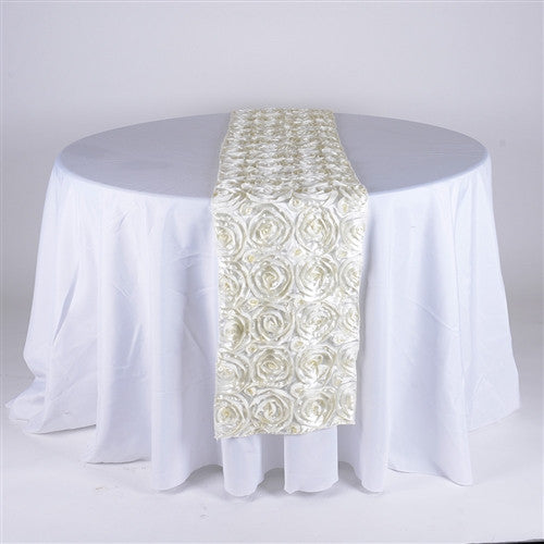 Ivory 14 Inch x 108 Inch Rosette Table Runner- Ribbons Cheap