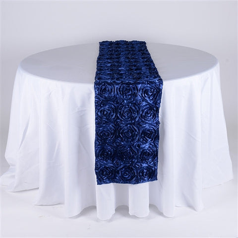 Navy Blue 14 Inch x 108 Inch Rosette Table Runner- Ribbons Cheap