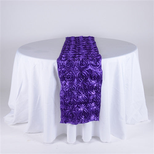 Purple 14 Inch x 108 Inch Rosette Table Runner- Ribbons Cheap