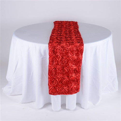 Red 14 Inch x 108 Inch Rosette Table Runner- Ribbons Cheap