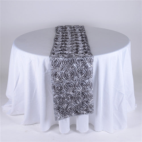 Silver 14 Inch x 108 Inch Rosette Table Runner- Ribbons Cheap