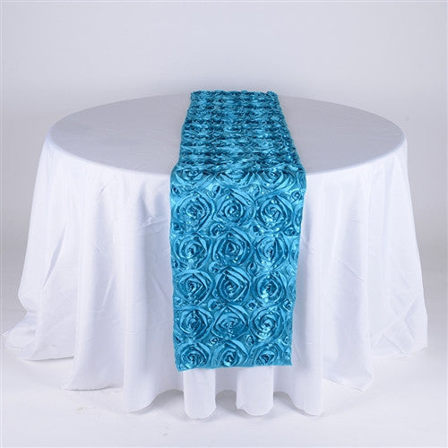 Turquoise 14 Inch x 108 Inch Rosette Table Runner- Ribbons Cheap