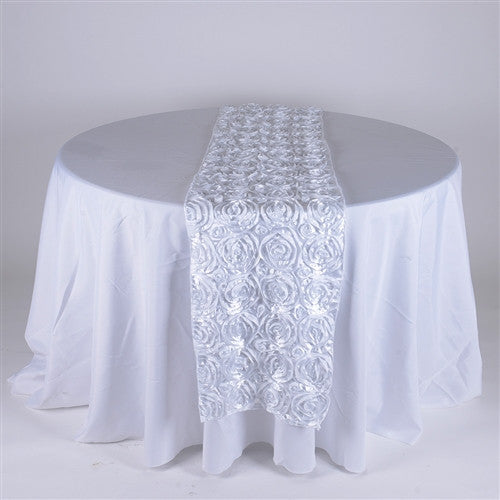 White 14 Inch x 108 Inch Rosette Table Runner- Ribbons Cheap