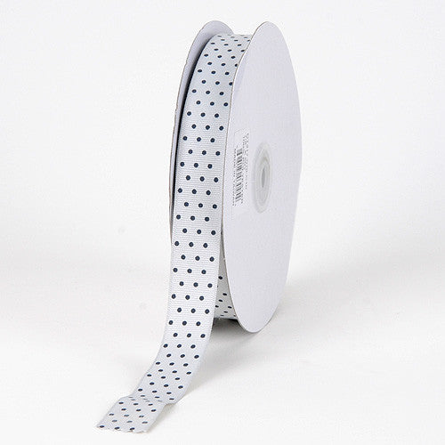 Grosgrain Ribbon Swiss Dot Silver with Black Dots ( W: 3/8 inch | L: 50 Yards )
