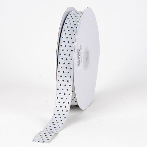 Grosgrain Ribbon Swiss Dot Silver with Black Dots ( W: 3/8 inch | L: 50 Yards ) -