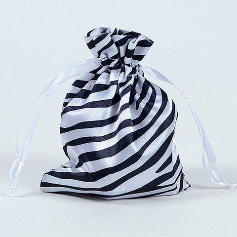 Animal Print Satin Bags White ( 3x4 Inch - 10 Bags ) - Ribbons Cheap
