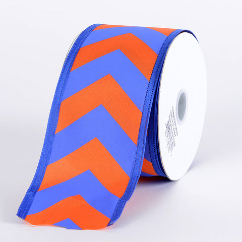 Chevron Print Satin Ribbon Royal Blue with Orange ( W: 1-1/2 inch | L: 10 Yards ) -
