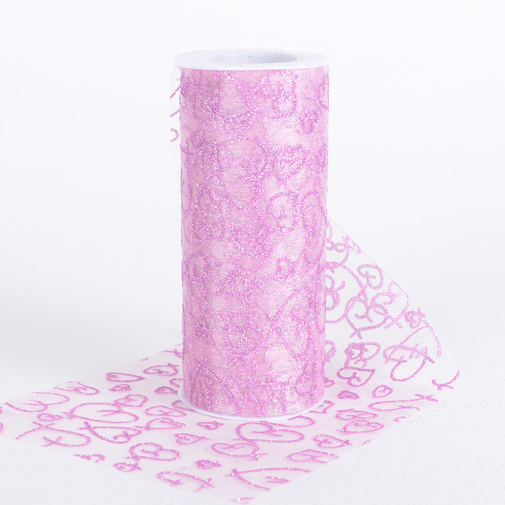 6 inch Glitter Hearts Organza Roll Pink ( W: 6 inch | L: 10 Yards ) - Ribbons Cheap