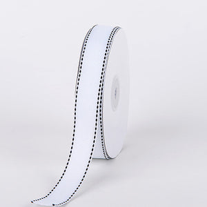 Grosgrain Ribbon Stitch Design White ( 5/8 inch | 25 Yards ) -
