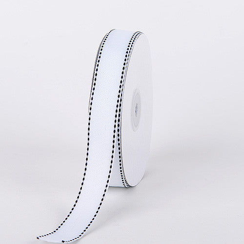 Grosgrain Ribbon Stitch Design White ( W: 3/8 inch | L: 25 Yards ) -